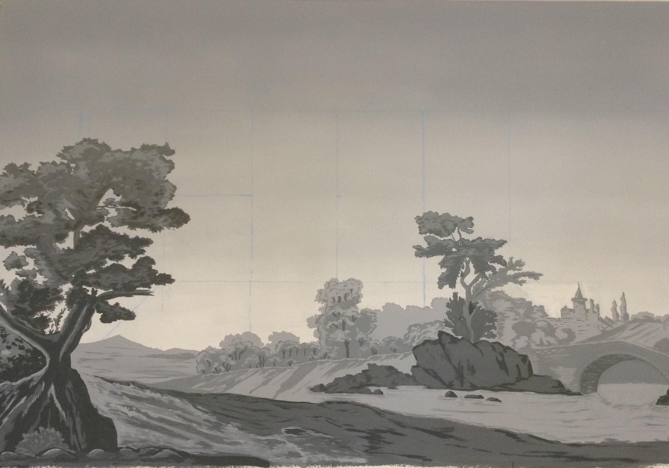 Paysage en grisaille - Peinture à la caséine